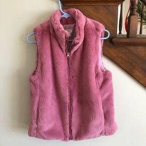 NWOT j crew pink faux fur vest